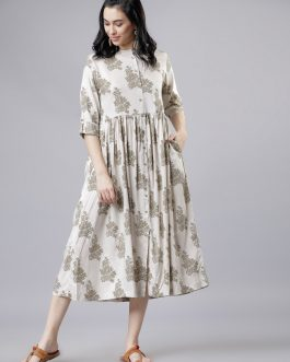 Off-White And Green Floral Print A-Line Dress
