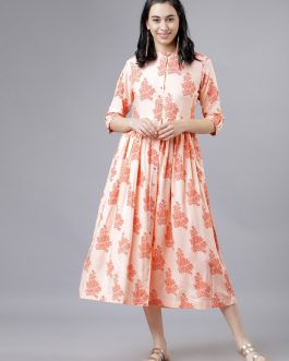 Peach-Coloured Floral Print Fit and Flare Dress