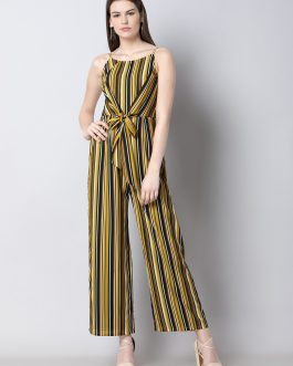 Yellow & Black Striped Basic Jumpsuit