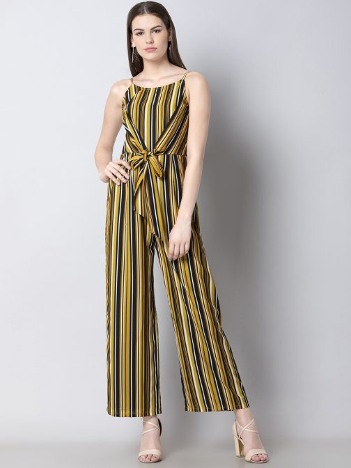Yellow & Black Striped Basic Jumpsuit