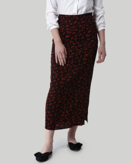 Black Flora Print Side Slit Maxi Skirt