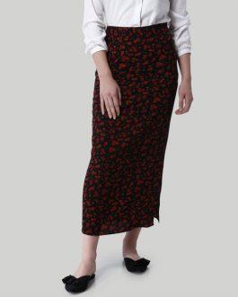 Black Flora Print Side Slit Maxi Skirt
