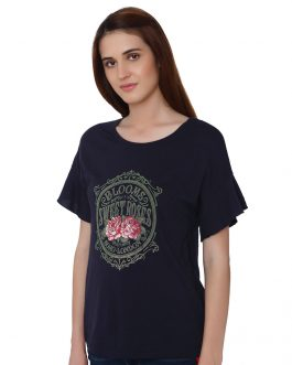 Navy Blue Graphic Print T-Shirt
