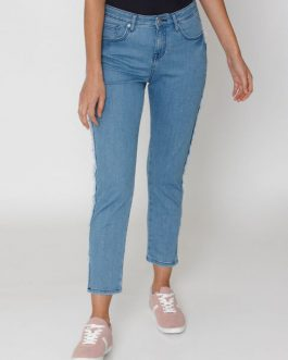 Blue Mid Rise Frayed Tape Detail Anti Fit Jeans