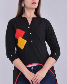 Casual 3/4 Sleeve Solid Women Black Top