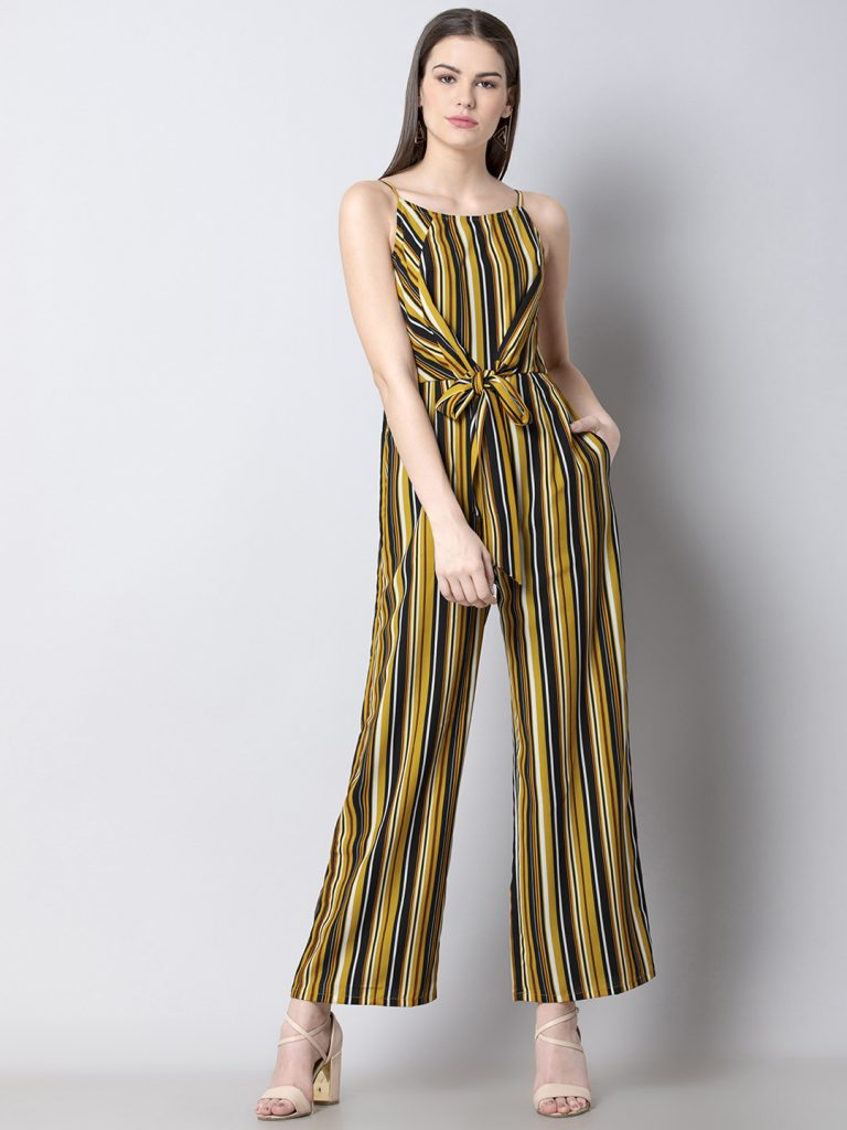 5 Yellow & Black Striped Basic Jumpsuit