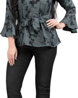 Bell Sleeve Floral Print Women Green Top