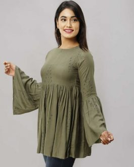 Bell Sleeve Printed Women Green Top
