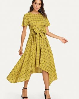 Bow Tie Front Plaid Hanky Hem Dress