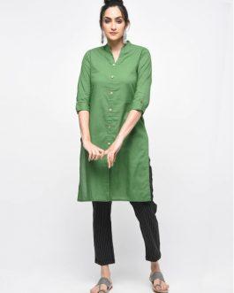 Green Cotton Plain Knee Length Kurti