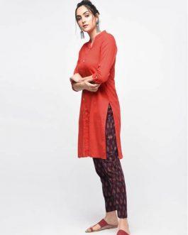 Red Cotton Plain Knee Length Kurti