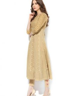 Beige Cotton Print Anarkali Kurti