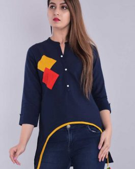 Casual 3/4 Sleeve Solid Women Blue Top