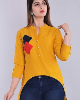 Casual 3/4 Sleeve Solid Women Yellow Top