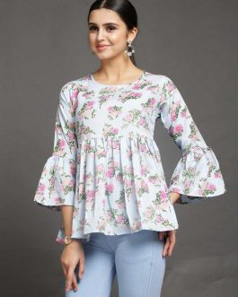 Bell Sleeve Printed Women Multicolor Top