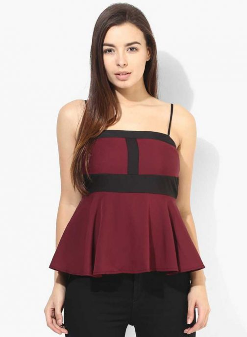 Casual Sleeveless Solid Women Maroon Top