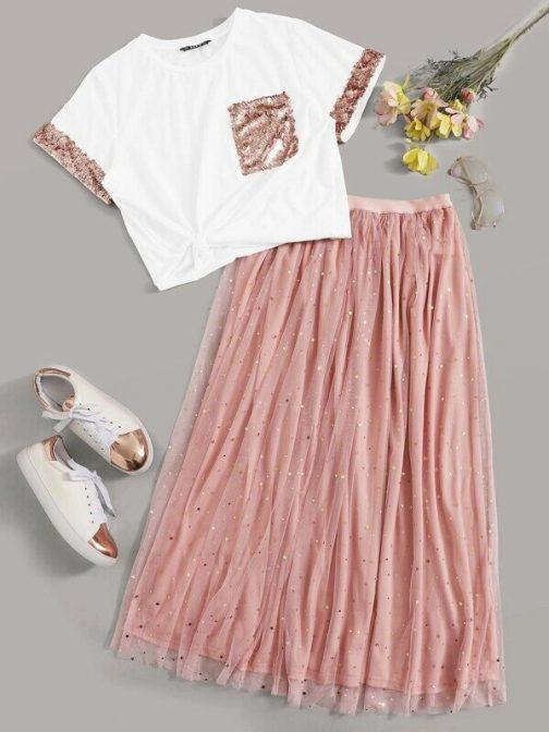 Contrast Sequin Detail Top & Mesh Skirt Set