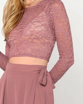 Crop Lace Top & Knot Skirt Set