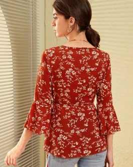 Ditsy Floral Tie Side Wrap Shirt