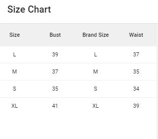 FK Size Chart Top ODD