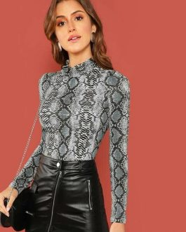 Form-Fitting Snakeskin Print Mock Neck Top