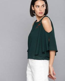 Green Solid Cold-Shoulder Top