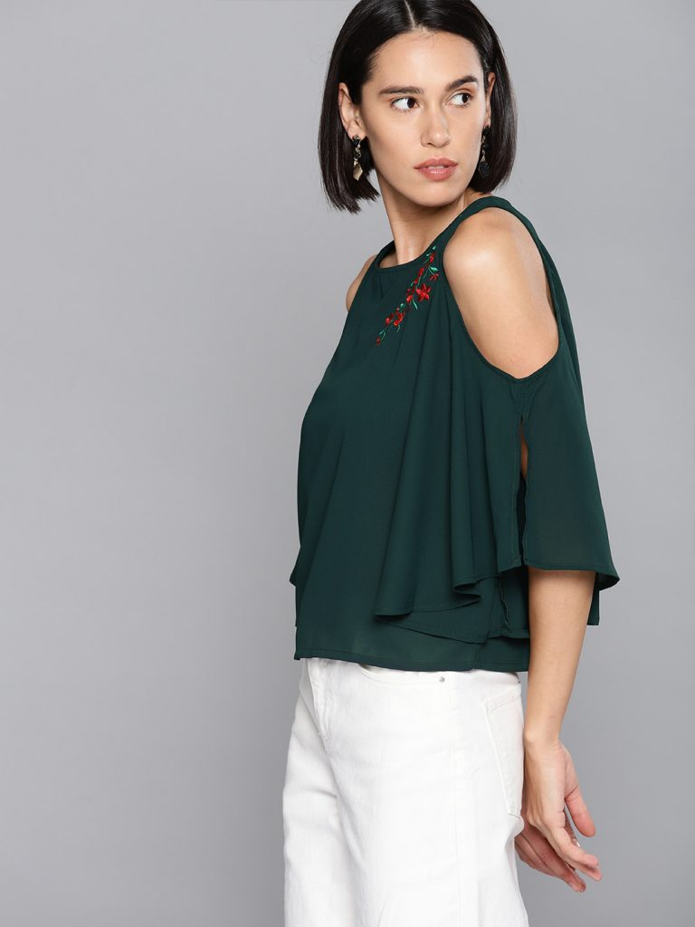 Green Solid Cold-Shoulder Top3