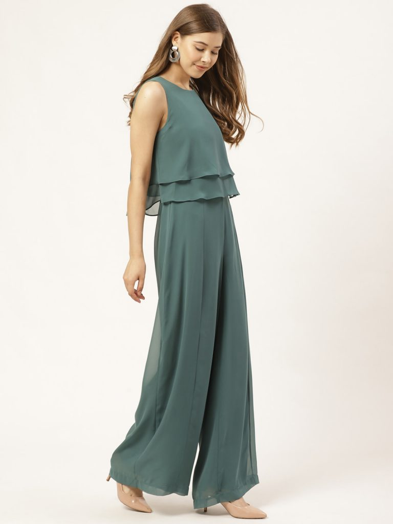 Green Solid Layered Basic Jumpsuit3