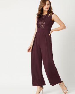 Maroon Solid Basic Jumpsuit
