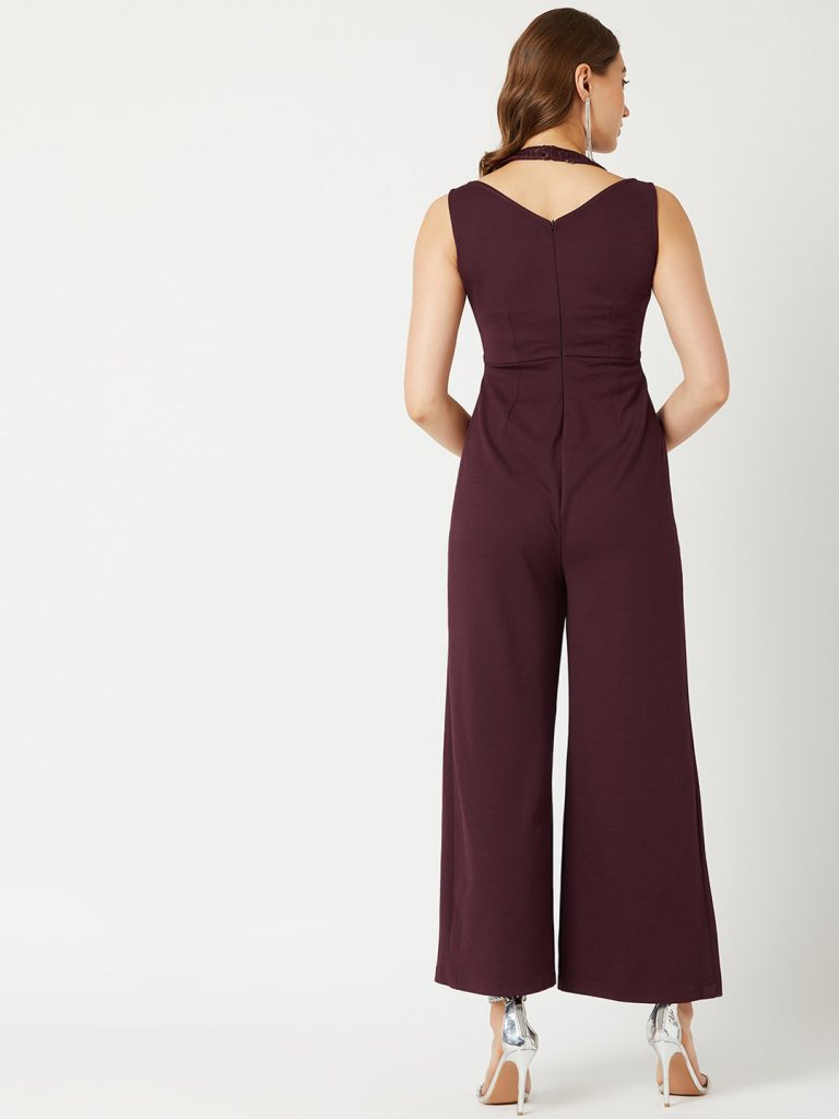 Maroon Solid Basic Jumpsuit3