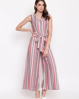 Multicoloured Striped Basic Jumpsuit