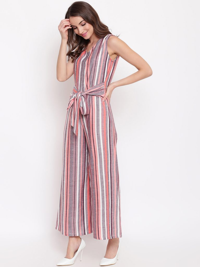Multicoloured Striped Basic Jumpsuit4