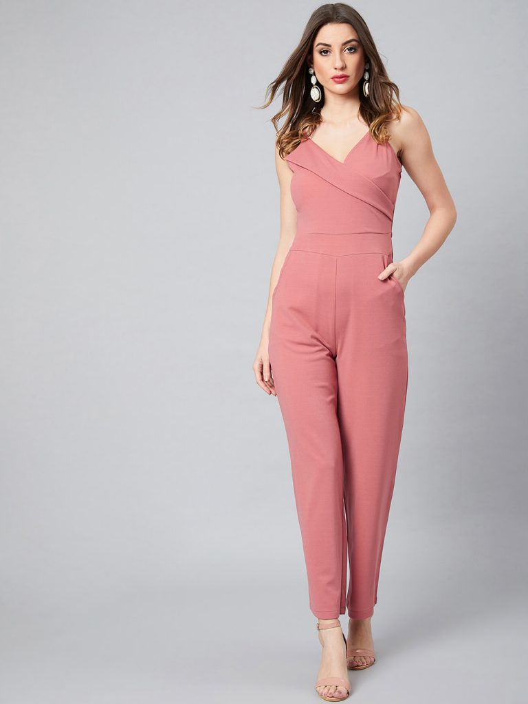 Pink Solid Basic Jumpsuit