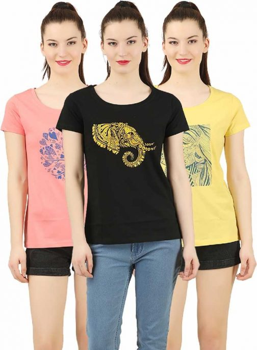 Printed Women Round Neck Multicolor T-Shirt
