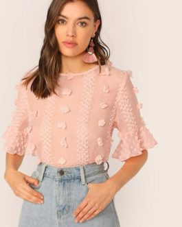 Ruffle Cuff Semi Sheer Top
