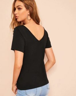 Criss-Cross Pearls Studded Tee