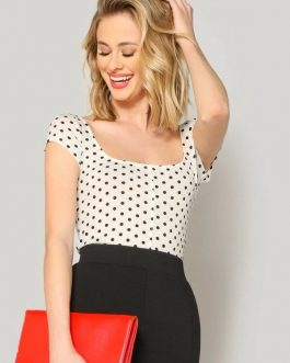 Scoop Neck Polka Dot Tee