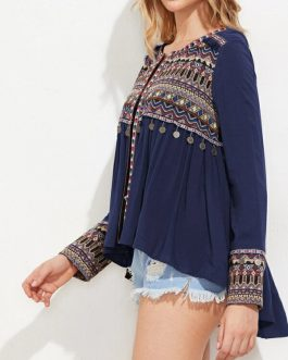 Tribal Embroidered Dip Hem Smock Top