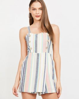 White & Pink Striped Playsuit