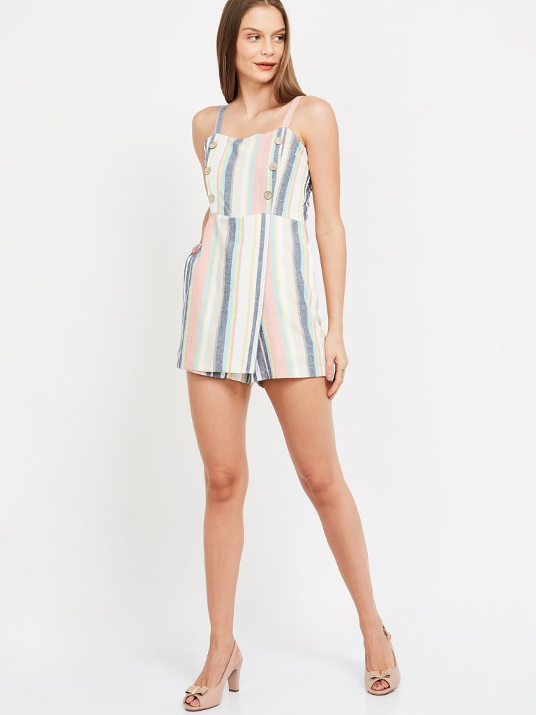 White & Pink Striped Playsuit4