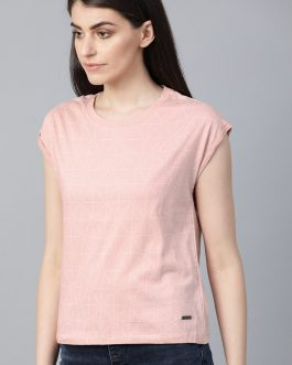 Pink & White Printed Round Neck T-Shirt
