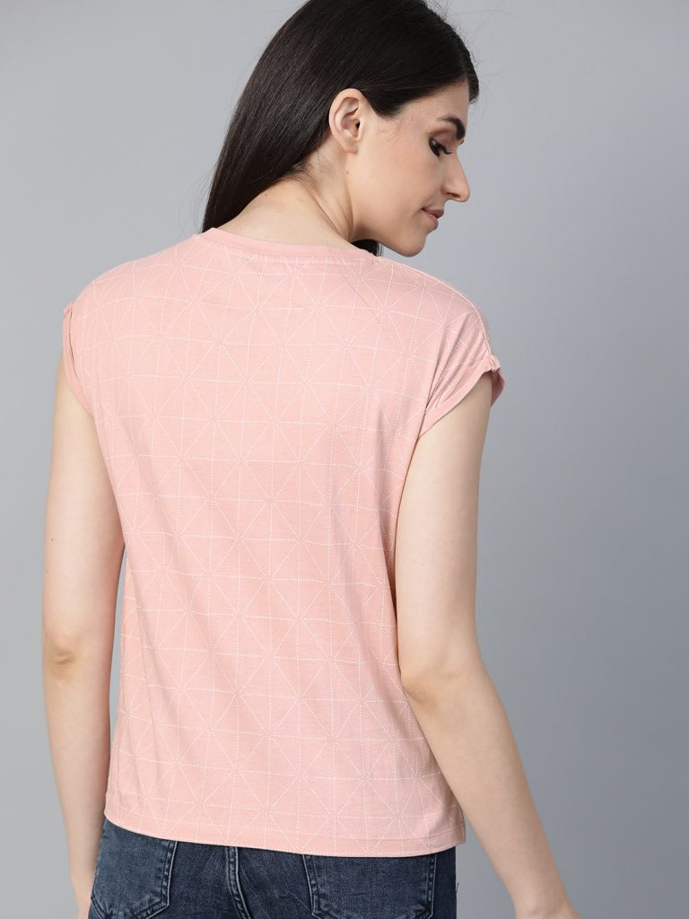 Women Pink & White Printed Round Neck T-shirt2