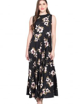 Black Printed Flared Maxi Dress