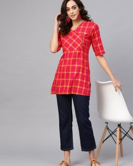 Magenta & Orange Checked Angrakha Kurti
