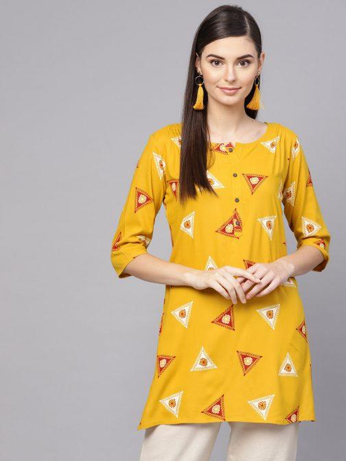 Mustard Yellow & Maroon Foil Print Straight Kurti