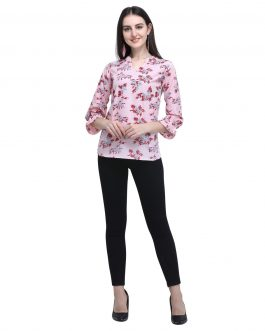 3/4 Sleeve Printed Women Multicolor Top