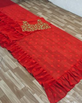 Beautiful Red Georgette with Embroidery Saree
