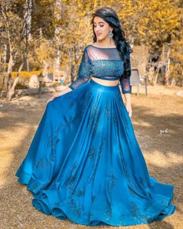 Blue Stylish Celebrity Lehenga(Semi-Stitch)