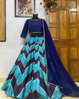 Blue Zig Zag Digital Printed Taffeta Silk Party wear Lehenga Choli