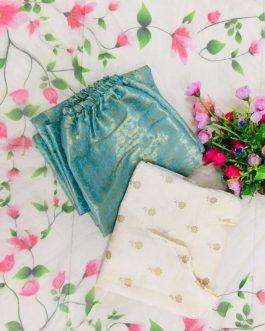 Floral Foil Butti Chanderi Silk Top With Jeckqaurd Silk Pant